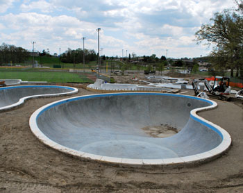 New Ann Arbor skatepark still under construction, not yet ready to skate. View from Dexter-Ann Arbor Road looking south