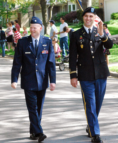 Lt. Col. Kevin Bohnsack and Capt. Brian Cech represented the military in the parade.