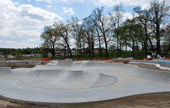 New Ann Arbor skatepark still under construction not yet ready to skate. View from Dexter-Ann Arbor Road looking southwest.