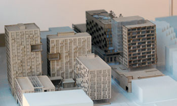 A 3-D model currently displayed on a table just outside the elevator landing of city hall. It reflects the work of University of Michigan students in a course taught by professor of architecture and urban planning Doug Kelbaugh. This view is looking north, with the conceived development for the Brown block to the left of the frame.