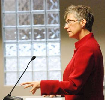 Mary Jo Callan, head of Washtenaw County's office of community and economic development, explained to the DDA board what the affordable housing  needs assessment would entail. The board voted to approve $37,500 for the study. (Photos by the writer.)