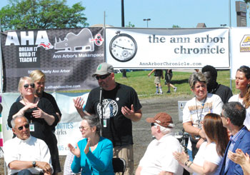 Trevor Staples addressed the gathering at the grand opening of the new Ann Arbor skatepark.