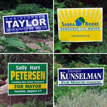 Campaign yard signs for candidates in the Ann Arbor Democratic mayoral primary.