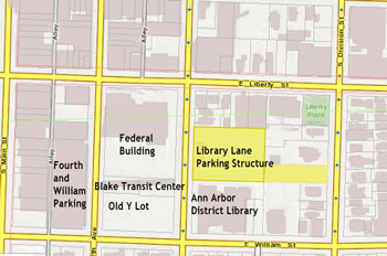 The surface of the Library Lane parking structure is highlighted in yellow.