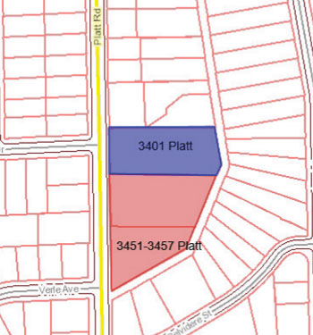 Purchase of the blue-highlighted parcel could be authorized by the city council at its July 21 meeting.