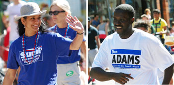 Sumi Kailasapathy and Don Adams marched in Ann Arbor's Fourth of July parade.