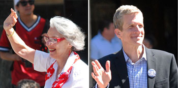 Nancy Kaplan and Kirk Westphal at Ann Arbor's Fourth of July parade.
