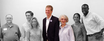 Group photo of candidates in Ward 1, Ward 2 and Ward 3 at the Ann Arbor Democratic Party forum held on Saturday, July 12, 2014. From right: Don Adams and Sumi Kailasapathy; Nancy Kaplan and Kirk Westphal; Julie Grand, Samuel McMullen and Bob Dascola.