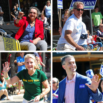 All the mayoral candidates participated in Ann Arbor's Fourth of July parade. Clockwise from upper left: Sabra Briere, Stephen Kunselman, Christopher Taylor, Sally Petersen.
