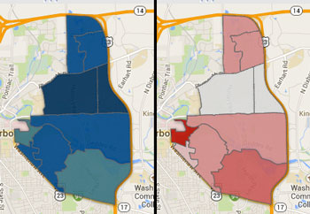 Ward 2 precincts color-shaded according to percentage of the vote received: Westphal (blue) and Kaplan (red).