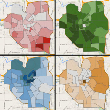 Precincts are colored by strength of each candidate. Kunselman (red), Taylor (green), Briere (blue) and Petersen (orange).