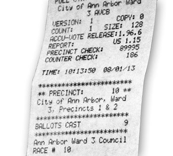 Example of am Ann Arbor voter machine results tape from 2013.